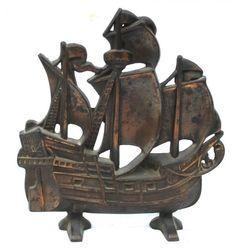 "Antique cast iron 11""tall Spanish Galleon at full sail"