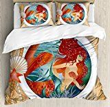 mermaidhomedecor - Mermaid Queen Size Duvet Cover Set  $119.99