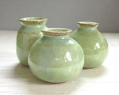 3 Green Pottery Vases by JDWolfePottery on etsy
