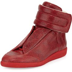 Maison Margiela Future Printed Leather High-Top Sneaker ($1,085) ❤ liked on Polyvore featuring men's fashion, men's shoes, men's sneakers, red, mens red sneakers, mens red shoes, mens high top shoes, mens black leather high top sneakers and mens monk strap shoes