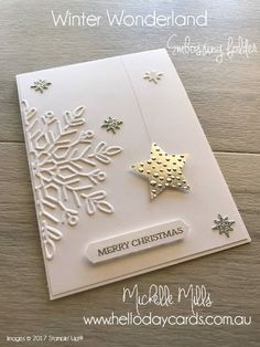 Todays card is actually one of my own designs this time rather than a CASE. This card came about after I saw some small Christmas decor. Winter Wonder Ida Veil idaveil sizzix Todays card is actually one of my own designs this time rather than a C Christmas Cards 2017, Stamped Christmas Cards, Homemade Christmas Cards, Stampin Up Christmas, Homemade Cards, Handmade Christmas, Holiday Cards, Christmas Crafts, Snowflake Cards