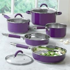 purple small kitchen appliances | Amazon.com: Brylanehome 8-Pc. Purple Cookware Set: Kitchen & Dining