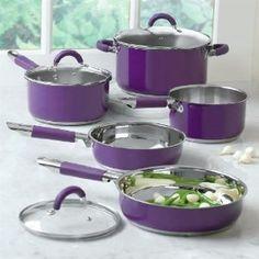 purple small kitchen appliances | Amazon.com: Brylanehome 8-Pc. Purple Cookware Set: Kitchen & Dining
