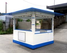Outdoor Cappuccino and Espresso Coffee kiosk. Built to last, powder coated aluminum. Sinks, running water. www.Cart-King.com
