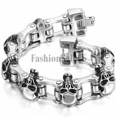 "Mens Large Wide Polish Stainless Steel Motorcycle Biker Chain Link Bracelet 8.3/"""