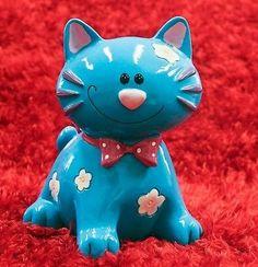 Blue Cat Piggy Bank Coins Money Bank | eBay
