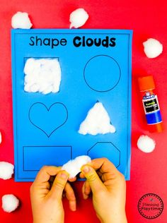 Shapes Activites for Preschool - Weather Theme Looking for fun Weather Activities for Kids? This set is packed with hands-on learning fun for a Weather Theme. Includes an Interactive Weather Chart, and so much more. Weather Activities Preschool, Preschool Learning Activities, Preschool Lessons, Spring Activities, Toddler Activities, Preschool Activities, Preschool Shapes, Weather Science, Weather Unit