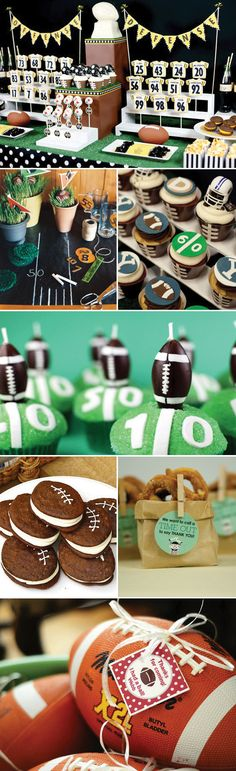 PERFECT IDEA FOR MY WEDDING... 5 WEEKS AWAY :) Football Birthday Party ~ love the whoopie pies in football shapes and the idea of giving footballs as favors