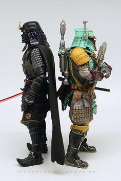 "toyhaven: Comparison pictures of Samurai Taisho Darth Vader & Ronin Kenzan Boba Fett 7"" action figure"