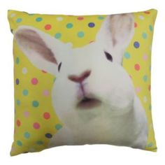 Blossoms+&+Blooms+Bunny+Throw+Pillow
