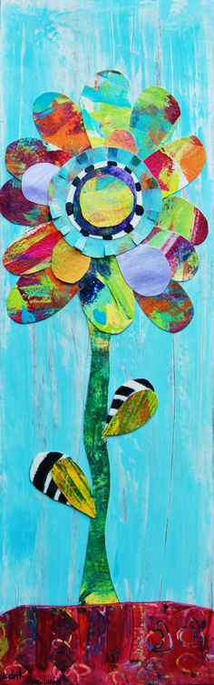Colored paper collage art- beautiful and like doing a puzzle for kids!