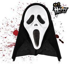 ec030daa240a TK Gruppe Timo Klingler 1x Costume de Masque de Zombie Noir Effrayant  Halloween Scream ALS pour Enfants, Hommes et Femmes