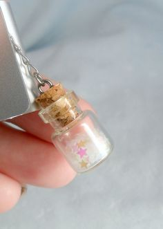 Fairy Kei Glitter Wishing Stars Dust Plug Bottle Charm, For iPhone or iPod, Cute, Kawaii :D