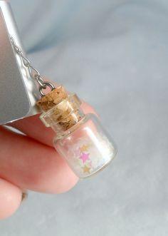 Fairy Kei Glitter Wishing Stars Dust Plug Bottle Charm, For iPhone or iPod, Cute, Kawaii :D