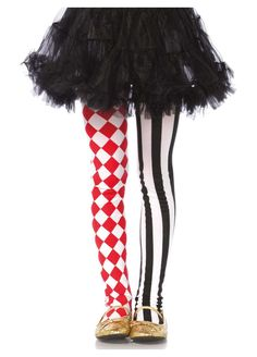 Girls Costumes - These fun Costume Tights for Girls will help you make her Harlequin or Clown Costume truly special for a Halloween she won't forget. Circus Themed Costumes, Girl Costumes, Clown Costumes, Dance Costumes, Halloween Costumes, Costume Harlequin, Queen Of Hearts Costume, Fashion Dress Up Games, Striped Tights