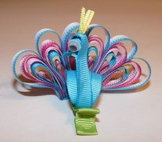 Peacock - Blue & Pink - Bubbly Bows