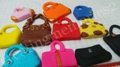 FONDANT PURSE TOPPERS - Edible purse toppers. Mixed colors and mixed purse great for cupcakes or cakes.