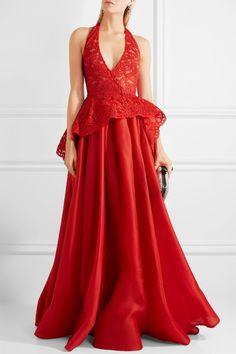 Red silk-gazar Concealed hook fastening at back 100% silk; lining: 100% polyester Dry clean Designer color: Poppy