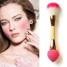 2 In 1 Pro Makeup Brushes Double Nylon Hair Cosmetic Puff Brush Face Powder Blush Concealer Foundation Make Up Tool  HJL #Affiliate
