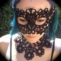 here's for more tatting! lace beads necklace face mask