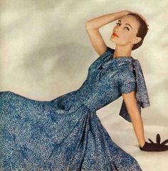 Harper's Bazaar January 1955, Evelyn Tripp photo by Louise Dahl-Wolfe