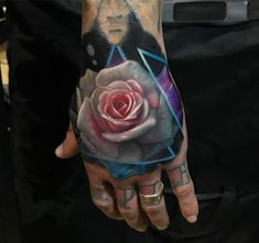 Rose Hand Tattoo, Realistic Pink & White Flower | Best tattoo ideas & designs
