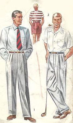 "Vintage 1950s Sewing Pattern Dapper Slacks Pants Trousers Shorts Pleats W 30"" #simplicity"