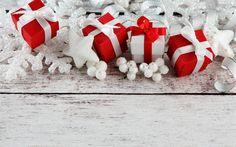 تحميل خلفيات عيد الميلاد, الهدايا الحمراء, فضي الثلج, الديكور, سنة جديدة سعيدة, الأبيض لوحات خشبية