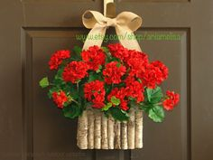 summer wreaths red geranium wreaths for front door wreaths birch bark vases gift ideas with love DECORATIONS Mothers Day Wreath, Valentine Day Wreaths, Christmas Wreaths, Valentines Diy, Front Door Decor, Wreaths For Front Door, Style Tropical, Love Decorations, Outdoor Decorations