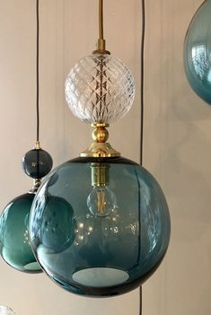 Pop light in denim and clear diamond glass by Rothschild & Bickers By combining simple spherical forms in vibrant colours, these pendants will brighten up any interior. From RRP Pendant Lighting Bedroom, Interior Lighting, Home Lighting, Lighting Design, Kitchen Pendant Lighting, Lighting Ideas, Light Fittings, Light Fixtures, Lampe Art Deco