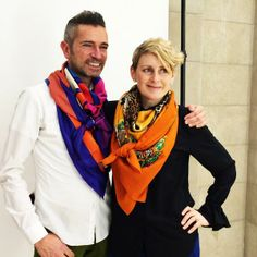 his and hers Hermes silk scarves