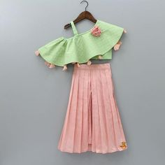 Pre Order: Green Off- Shoulder Top With Peach Palazzo Skirt Baby Girl Party Dresses, Dresses Kids Girl, Kids Outfits, Birthday Dresses, Kids Indian Wear, Kids Ethnic Wear, Kids Dress Wear, Kids Gown, Kids Wear