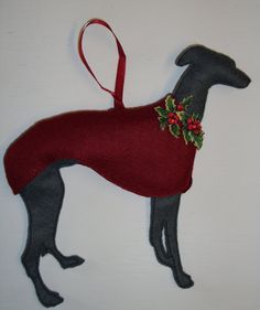 Whippet Christmas Tree Decoration by MelroseInteriors on Etsy (For Gwen)