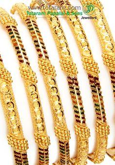 Totaram Jewelers: Buy Indian Gold jewelry & 18K Diamond jewelry: 22K Fine Gold Bangles - Set of 6 (3 Pair)