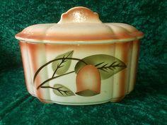 Art Deco Spritzdekor Keramik Deckeldose Keksdose Bonbonjere , Gebäckdose   eBay