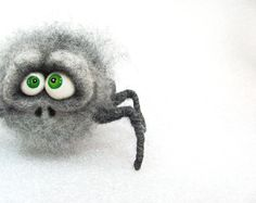 Needle Felted Toy. Grey Spider. Halloween Doll - Halloween Decoration. Gray.  via Etsy.