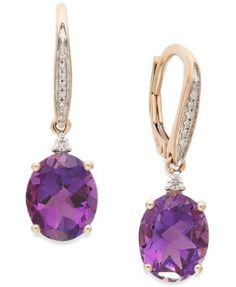 Amethyst (4-1/10 ct. t.w.) and Diamond Accent Oval Drop Earrings in 14k Rose Gold | macys.com