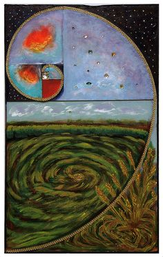 Plummer, Betty. Transformation: Crop Circle Forming  Media: Acrylic & Mixed Media. Price: $ 900.00. Show: Metamorphosis. Dates: October 3 - November 2, 2014. Curators: Kathy Turner, Betty Plummer. Judge: Elizabeth Ann Coleman. Location: Del Ray Artisans gallery at the Nicholas A. Colasanto Center, 2704 Mount Vernon Avenue, Alexandria, Virginia 22301.