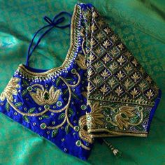 Royal Blue blouse with Golden lotus maggam work blouse South Indian Blouse Designs, Simple Blouse Designs, Wedding Saree Blouse Designs, Pattu Saree Blouse Designs, Wedding Blouses, Latest Maggam Work Blouses, Maggam Work Designs, Designer Blouse Patterns, Blouse Models