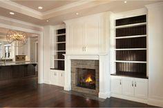 Fireplace, hidden tv, cabinets