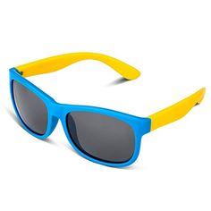 dad972075b RIVBOS RBK023 Rubber Flexible Kids Polarized Sunglasses Wayfarer Glasses  Age 3-10 (Blue)