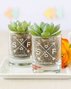Everyone deserves a shot at love. That's exactly why you should light up your wedding with these personalized shot glass votive candle holders!