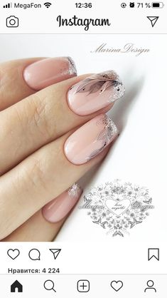 Most Girls love to manicure and put some nail types within their fingernails. Elegant Nails, Stylish Nails, Trendy Nails, Cute Nails, Manicure Nail Designs, Manicure E Pedicure, Clear Nails, Gel Nails, Feather Nails