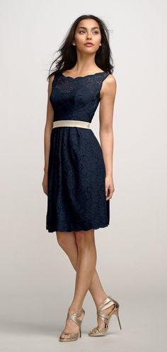Lace, Navy, dress by Watters. This dress is perfect for a romantic, vintage, or classic