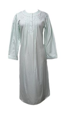 556125 New Miss Elaine Mint Brushed Back Satin Long Nightgown Sleepwear -- Find out more about the great product at the image link.