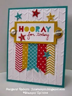 Fun Stampin' with Margaret!  Geomentrical set, CCMC 308 Color Challenge:  Real Red, Crushed Curry and Bermuda Bay.