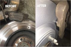 Replacement front brake pads & discs on a Jaguar