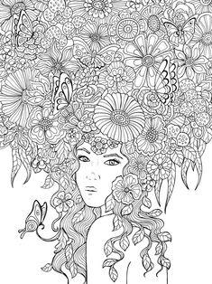 ★컬러링 도안★어른을 위한 색칠공부 봄 느낌 가득 꽃 & 여인 담아가실 때는 개인소장용으로 블로그에...