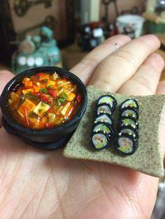 My handmade miniature Korean cuisine- kimchi jjigae and kimbap