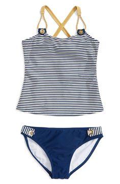 Jessica Simpson Stripe Two-Piece Tankini Swimsuit (Big Girls)